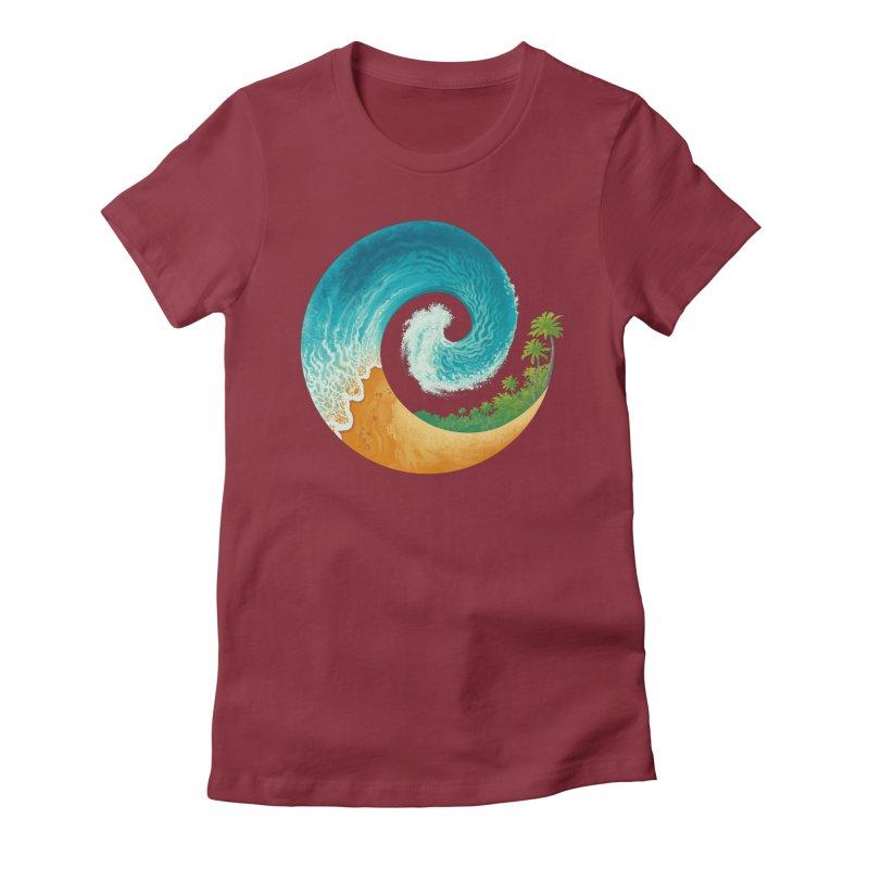 Spiral Beach Women's Fitted T-Shirt by Waynem