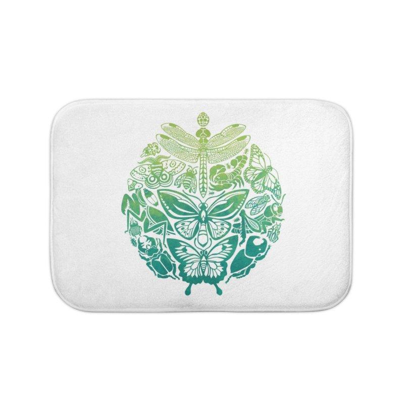 Bugs & Butterflies: Green Home Bath Mat by Waynem