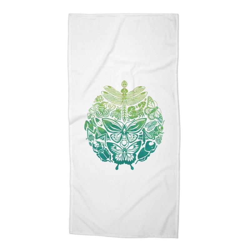 Bugs & Butterflies: Green Accessories Beach Towel by Waynem