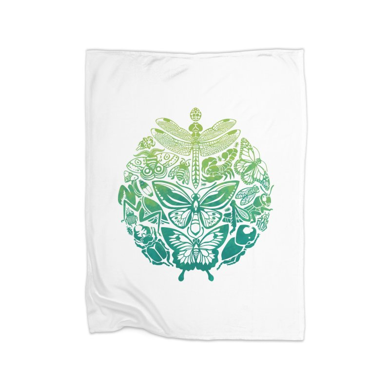 Bugs & Butterflies: Green Home Blanket by Waynem