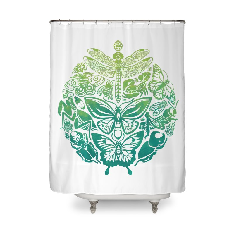Bugs & Butterflies: Green Home Shower Curtain by Waynem