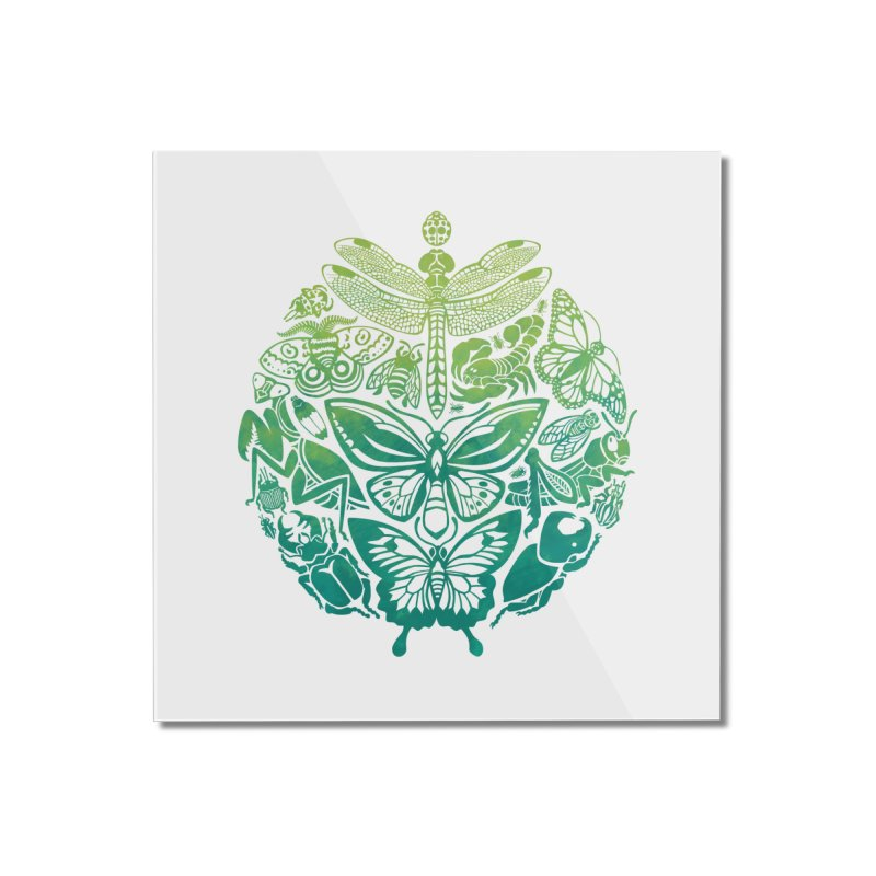 Bugs & Butterflies: Green Home Mounted Acrylic Print by Waynem