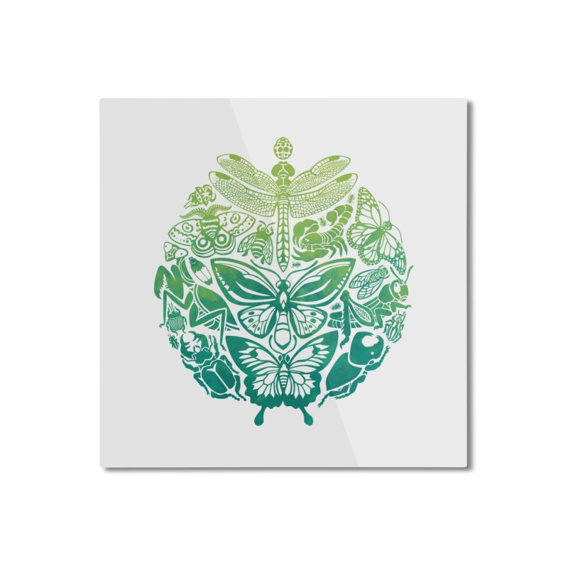 Bugs & Butterflies: Green Home Mounted Aluminum Print by Waynem