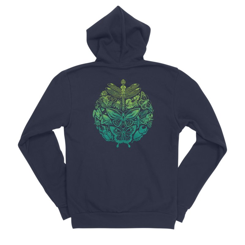 Bugs & Butterflies: Green Men's Sponge Fleece Zip-Up Hoody by Waynem