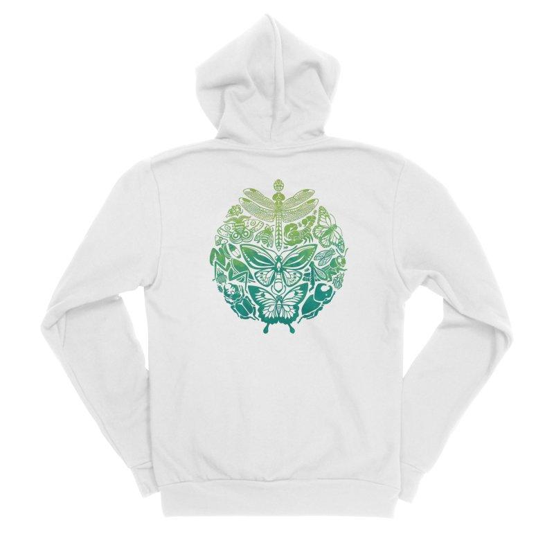 Bugs & Butterflies: Green Women's Sponge Fleece Zip-Up Hoody by Waynem