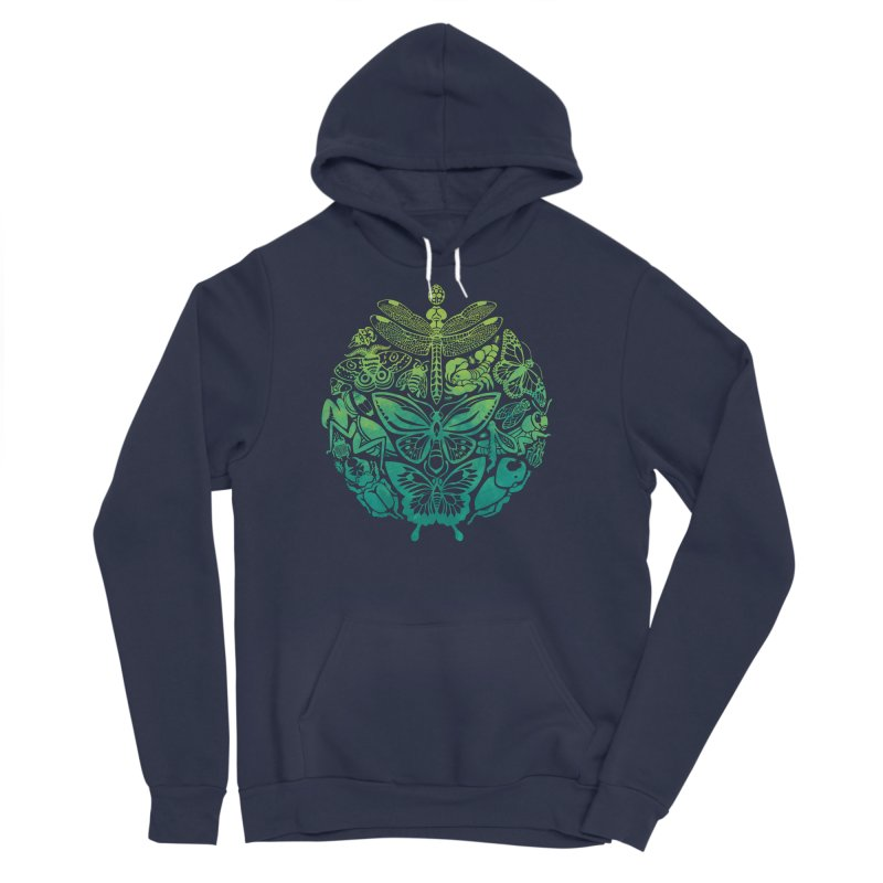 Bugs & Butterflies: Green Women's Sponge Fleece Pullover Hoody by Waynem