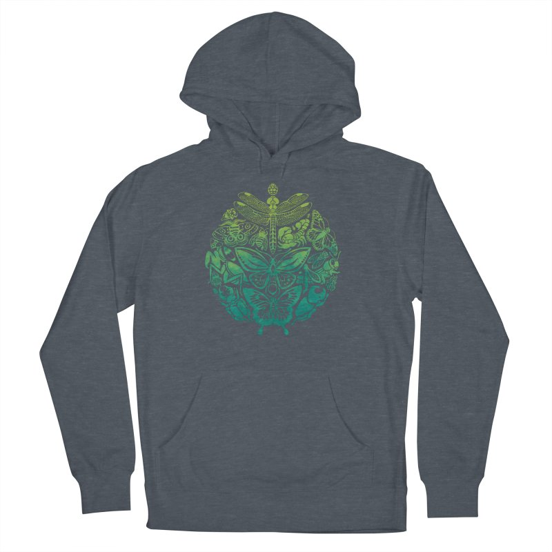 Bugs & Butterflies: Green Men's French Terry Pullover Hoody by Waynem