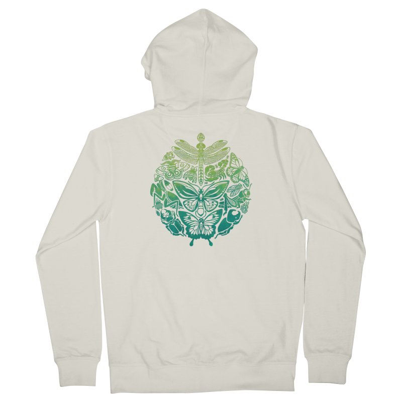 Bugs & Butterflies: Green Women's French Terry Zip-Up Hoody by Waynem