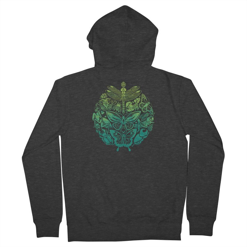 Bugs & Butterflies: Green Men's French Terry Zip-Up Hoody by Waynem