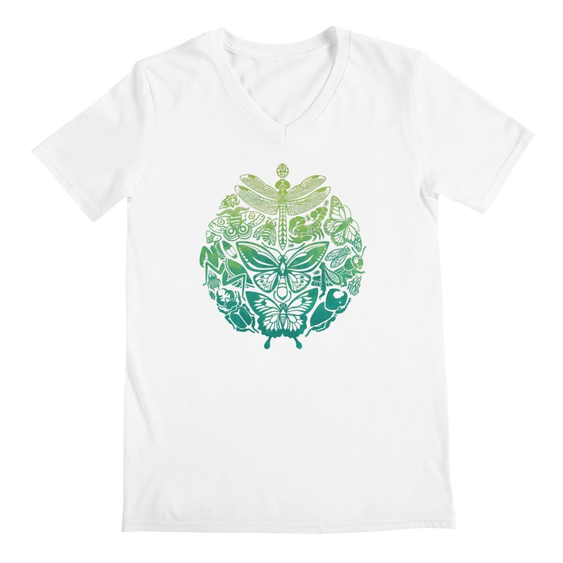 Bugs & Butterflies: Green Men's Regular V-Neck by Waynem
