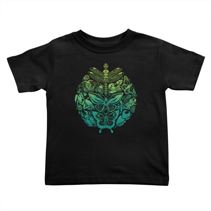 Bugs & Butterflies: Green Kids Toddler T-Shirt by Waynem