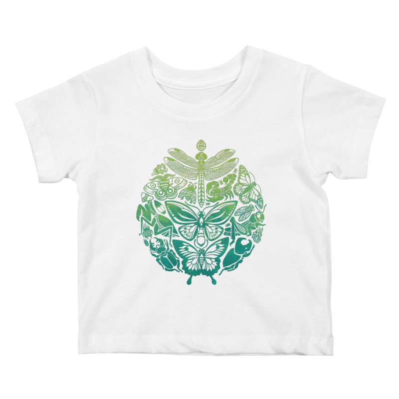 Bugs & Butterflies: Green Kids Baby T-Shirt by Waynem