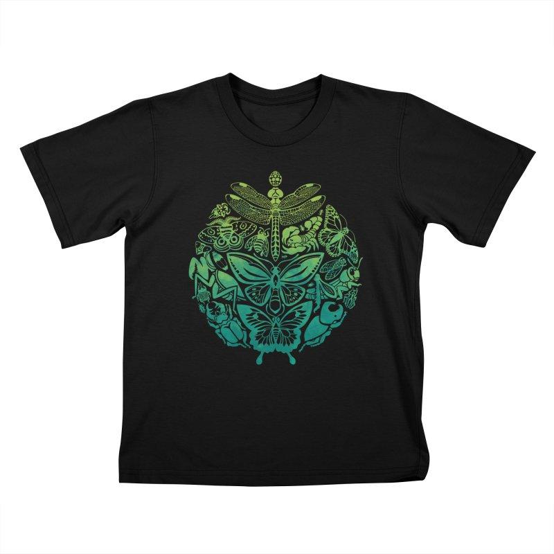 Bugs & Butterflies: Green Kids T-Shirt by Waynem