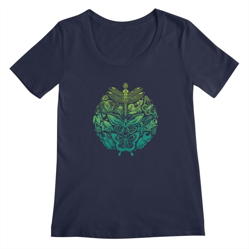 Bugs & Butterflies: Green Women's Regular Scoop Neck by Waynem