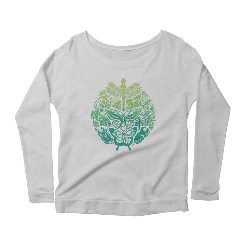 Bugs & Butterflies: Green Women's Scoop Neck Longsleeve T-Shirt by Waynem