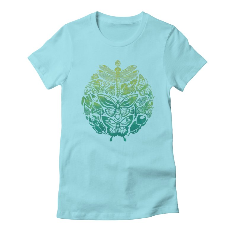Bugs & Butterflies: Green Women's Fitted T-Shirt by Waynem