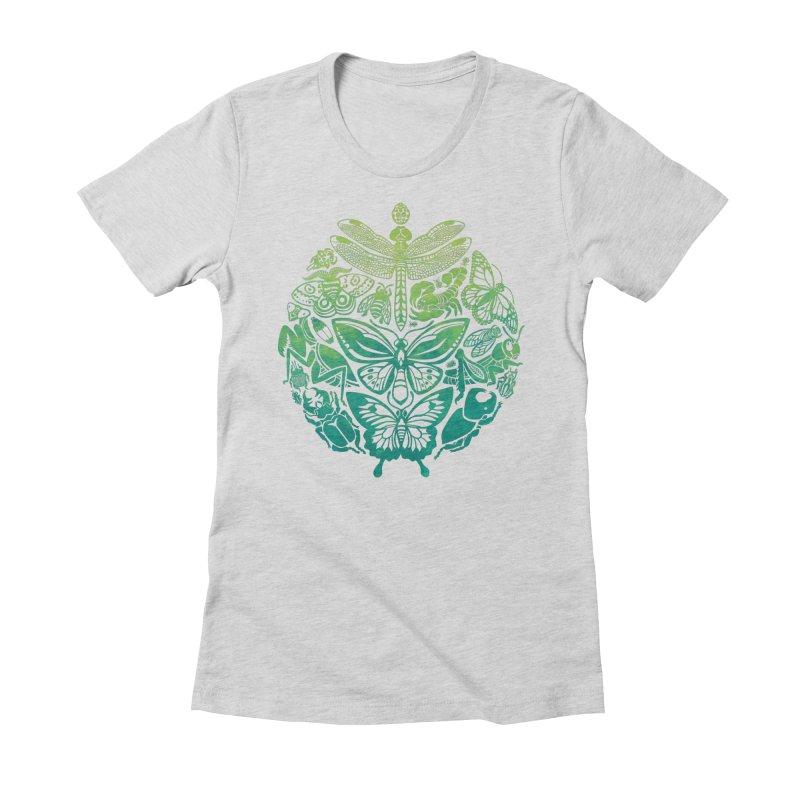 Bugs & Butterflies: Green Women's Fitted T-Shirt by Waynem