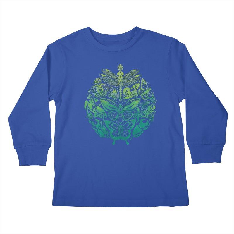 Bugs & Butterflies: Green Kids Longsleeve T-Shirt by Waynem