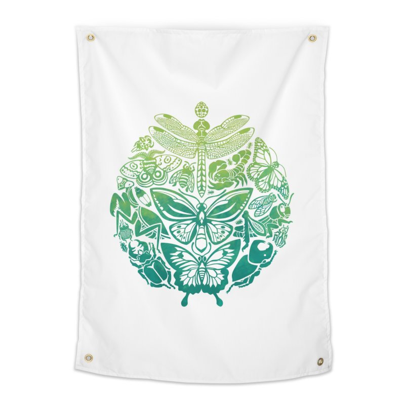 Bugs & Butterflies: Green Home Tapestry by Waynem