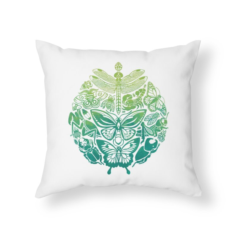 Bugs & Butterflies: Green Home Throw Pillow by Waynem