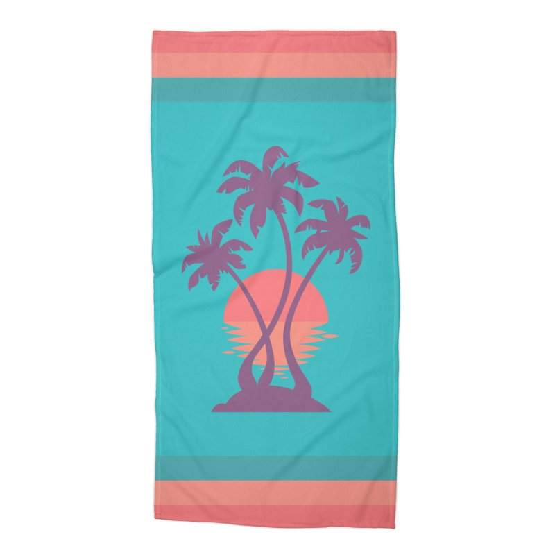 3 Palm Sunset Accessories Beach Towel by Waynem