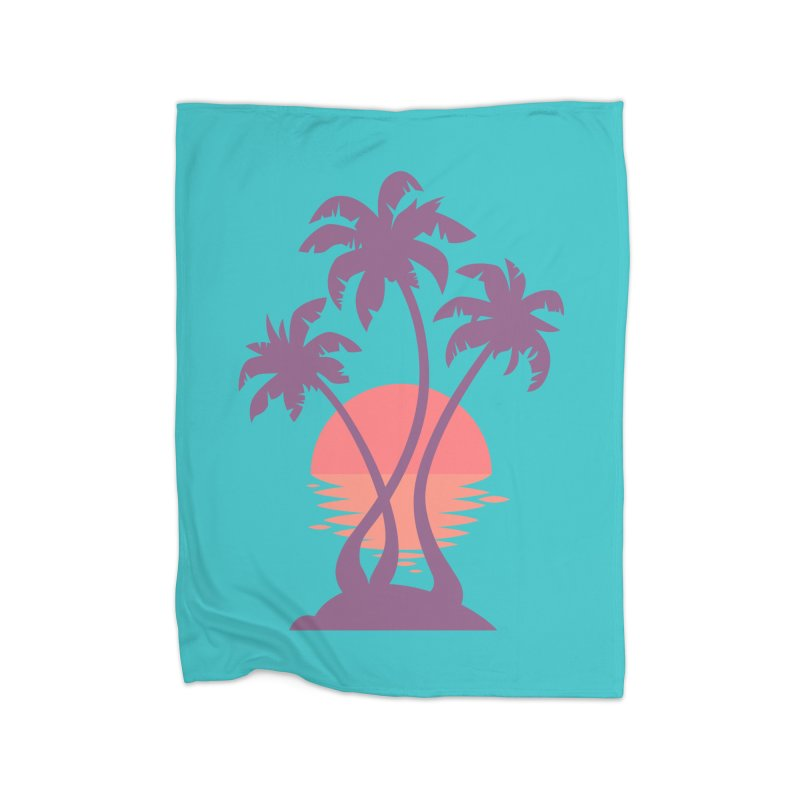 3 Palm Sunset Home Blanket by Waynem