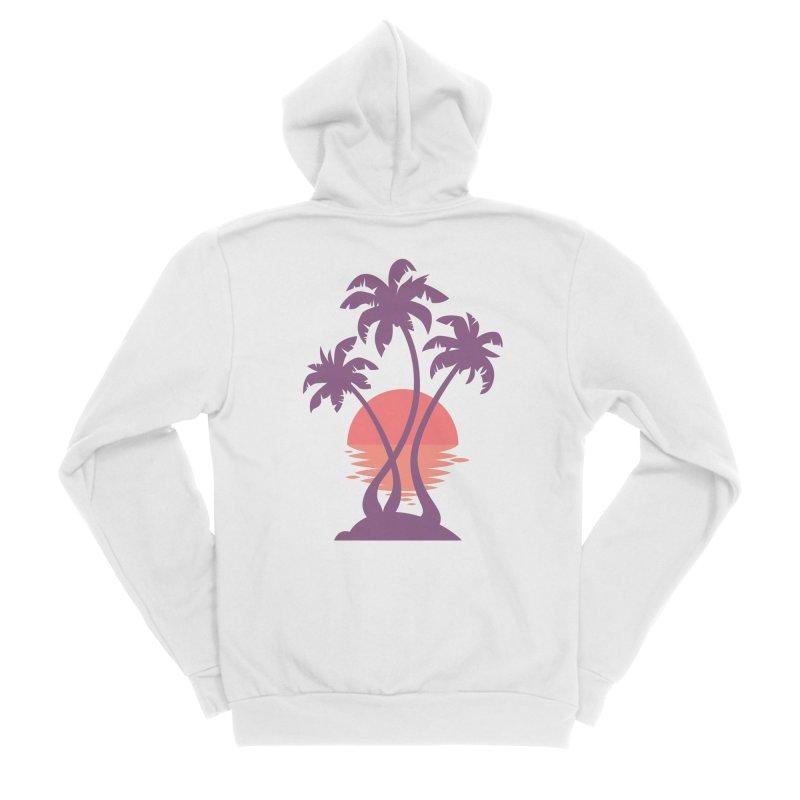 3 Palm Sunset Women's Sponge Fleece Zip-Up Hoody by Waynem