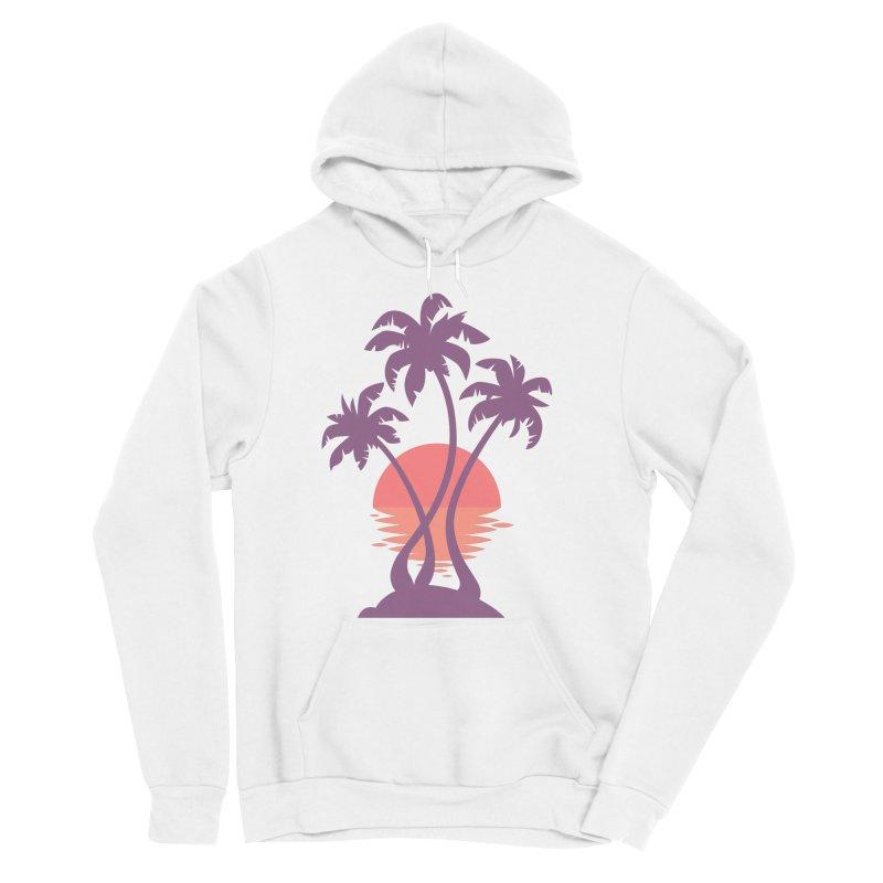 3 Palm Sunset Men's Sponge Fleece Pullover Hoody by Waynem