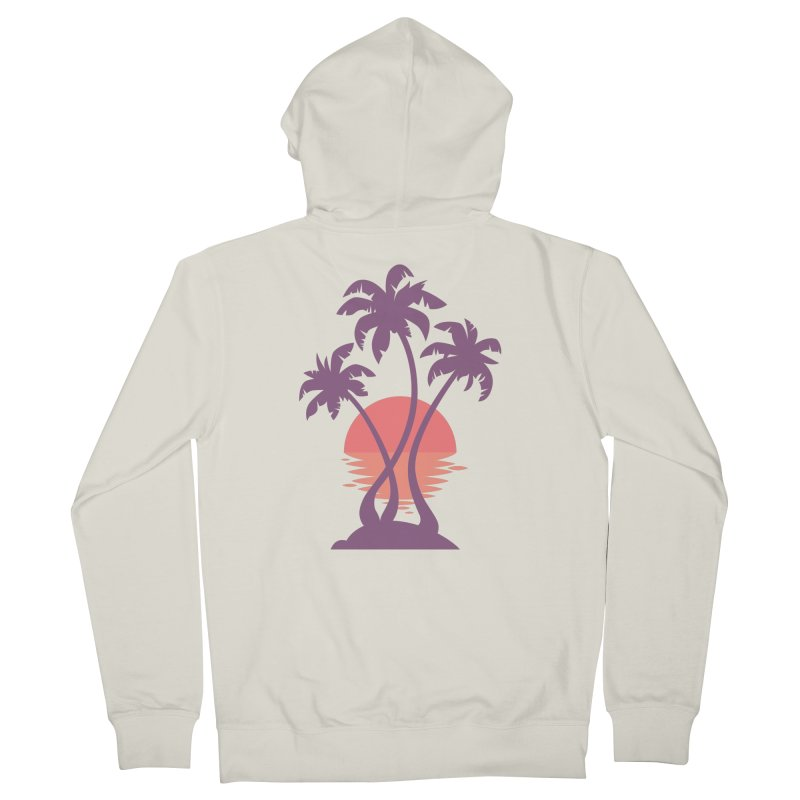 3 Palm Sunset Men's French Terry Zip-Up Hoody by Waynem