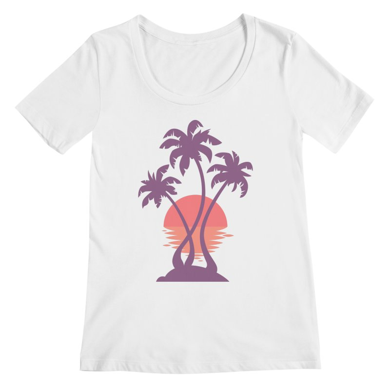 3 Palm Sunset Women's Regular Scoop Neck by Waynem