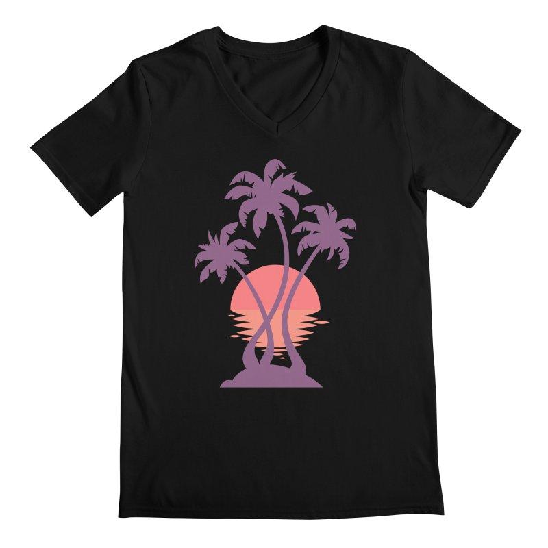 3 Palm Sunset Men's Regular V-Neck by Waynem