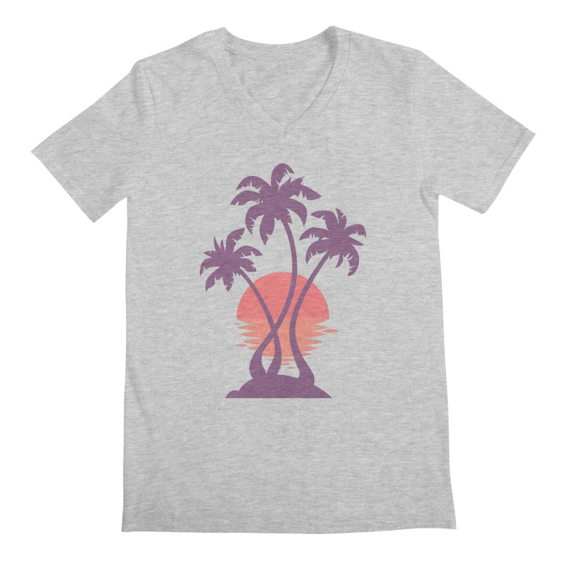 3 Palm Sunset Men's Regular V-Neck by Waynem