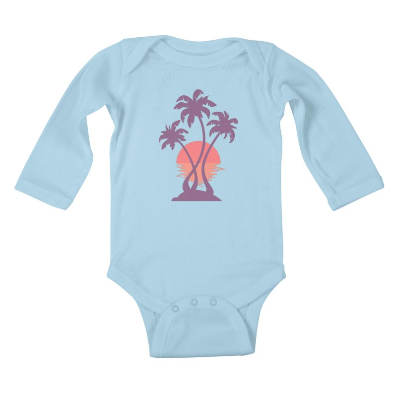 3 Palm Sunset Kids Baby Longsleeve Bodysuit by Waynem