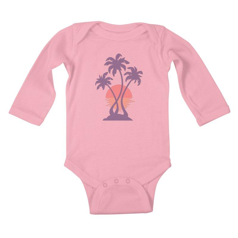 3 Palm Sunset Kids Baby Longsleeve Bodysuit by Waynem
