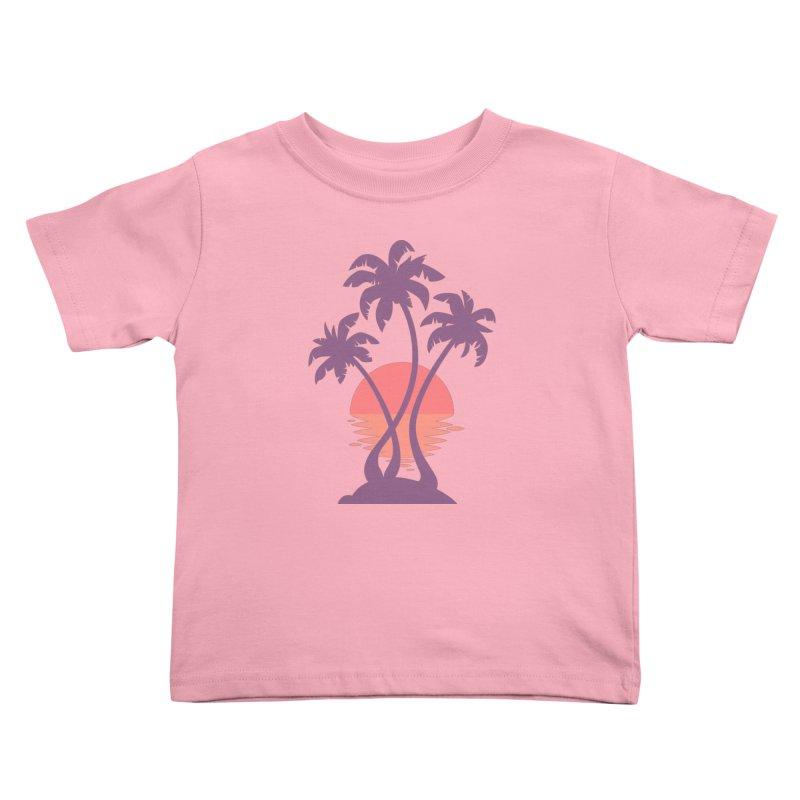 3 Palm Sunset Kids Toddler T-Shirt by Waynem