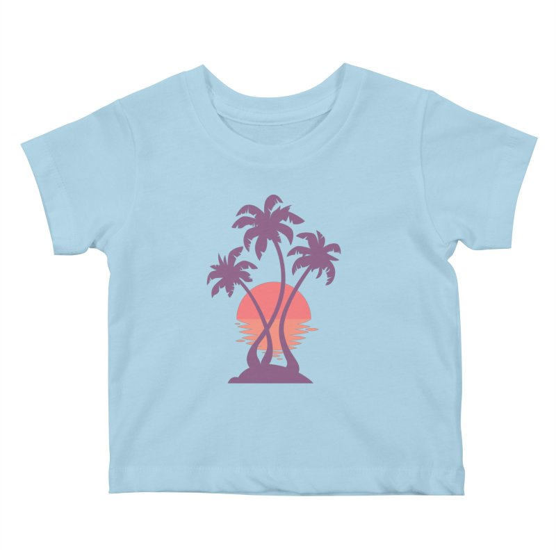 3 Palm Sunset Kids Baby T-Shirt by Waynem