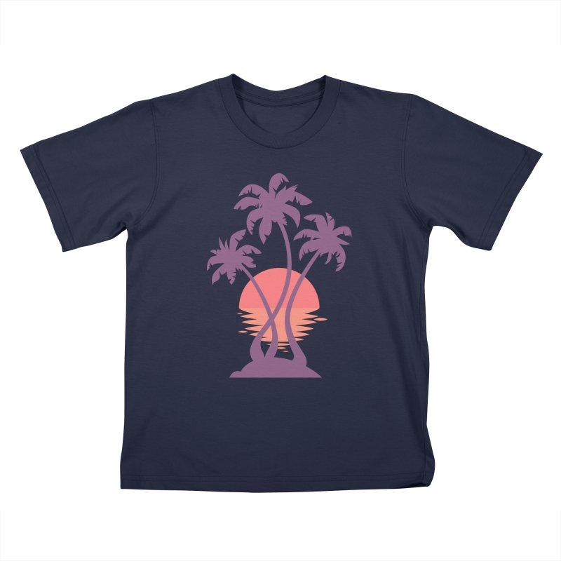 3 Palm Sunset Kids Toddler T-Shirt by Waynem