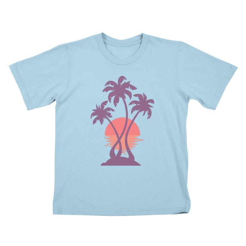 3 Palm Sunset Kids T-Shirt by Waynem