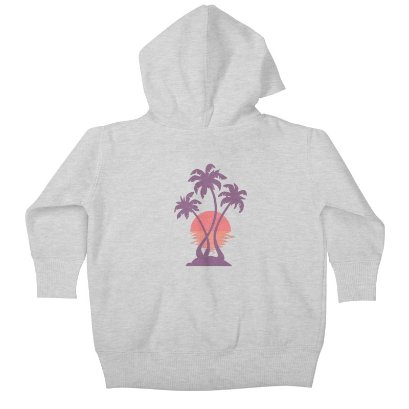 3 Palm Sunset Kids Baby Zip-Up Hoody by Waynem