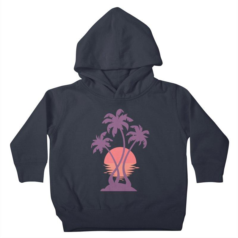 3 Palm Sunset Kids Toddler Pullover Hoody by Waynem
