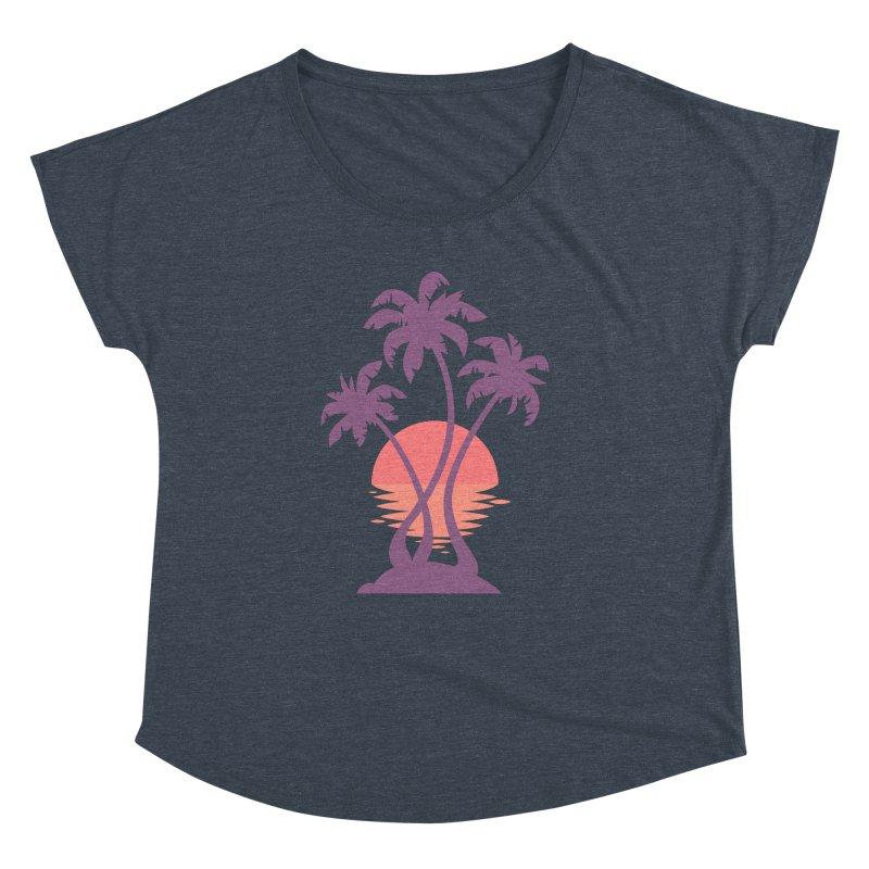 3 Palm Sunset Women's Dolman Scoop Neck by Waynem