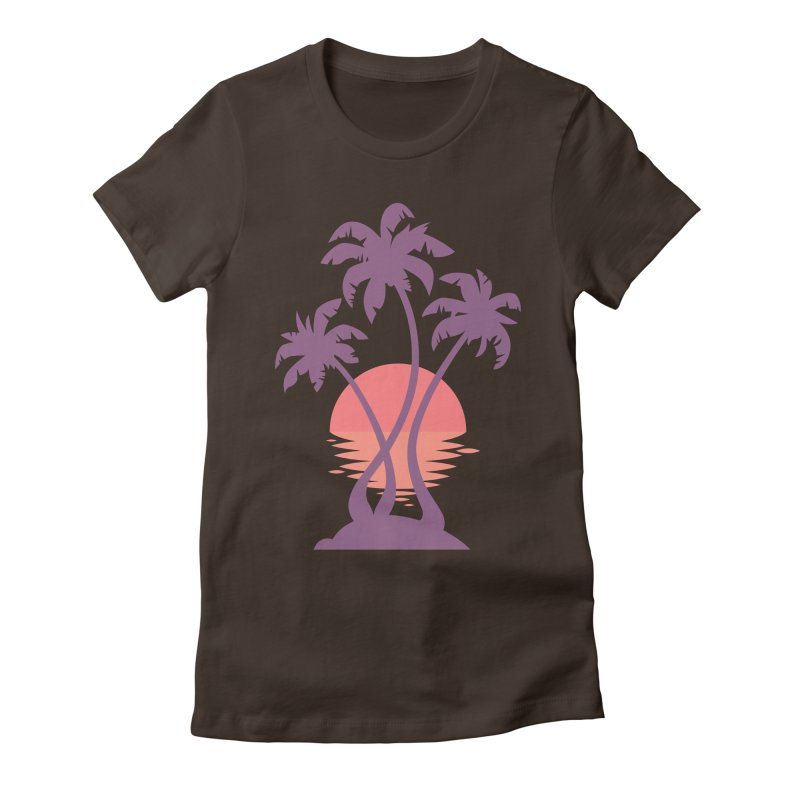 3 Palm Sunset Women's Fitted T-Shirt by Waynem
