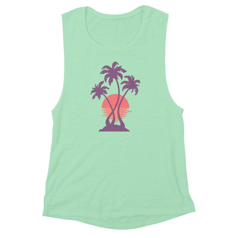 3 Palm Sunset Women's Muscle Tank by Waynem