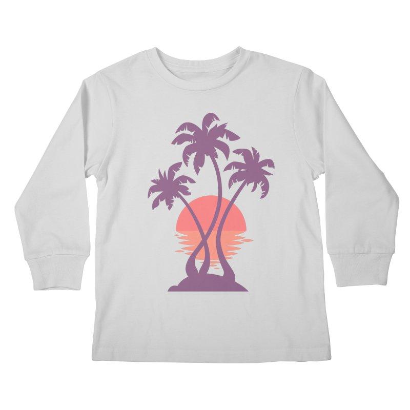 3 Palm Sunset Kids Longsleeve T-Shirt by Waynem