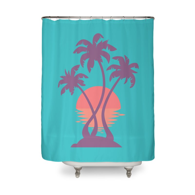 3 Palm Sunset Home Shower Curtain by Waynem