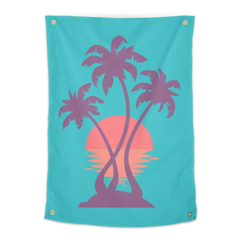 3 Palm Sunset Home Tapestry by Waynem