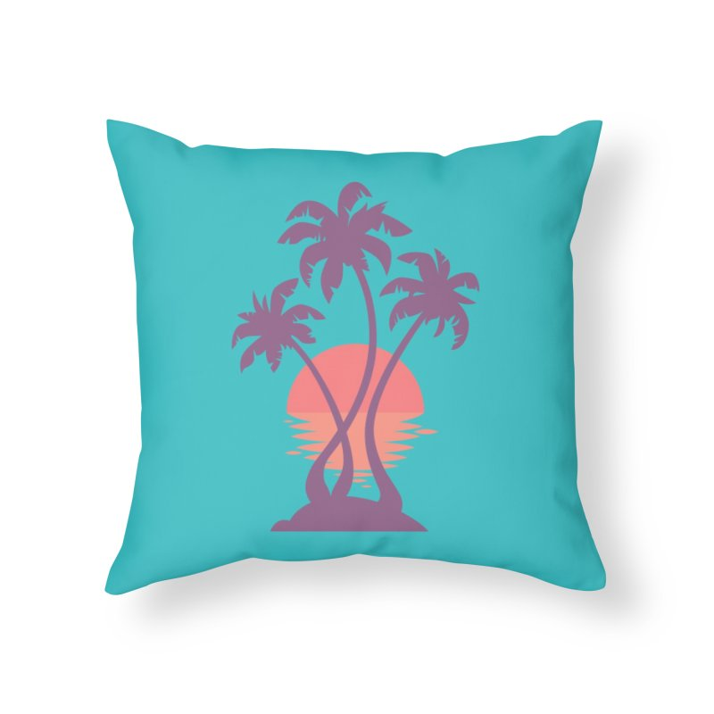 3 Palm Sunset Home Throw Pillow by Waynem