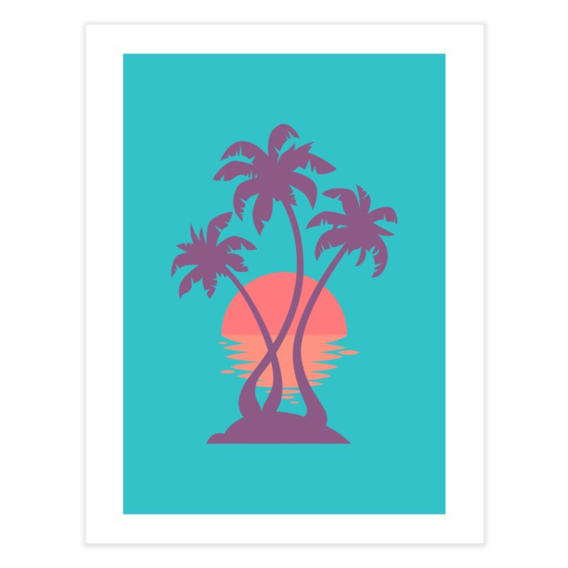 3 Palm Sunset Home Fine Art Print by Waynem