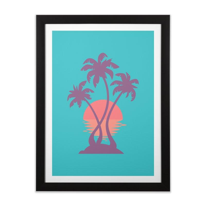 3 Palm Sunset Home Framed Fine Art Print by Waynem