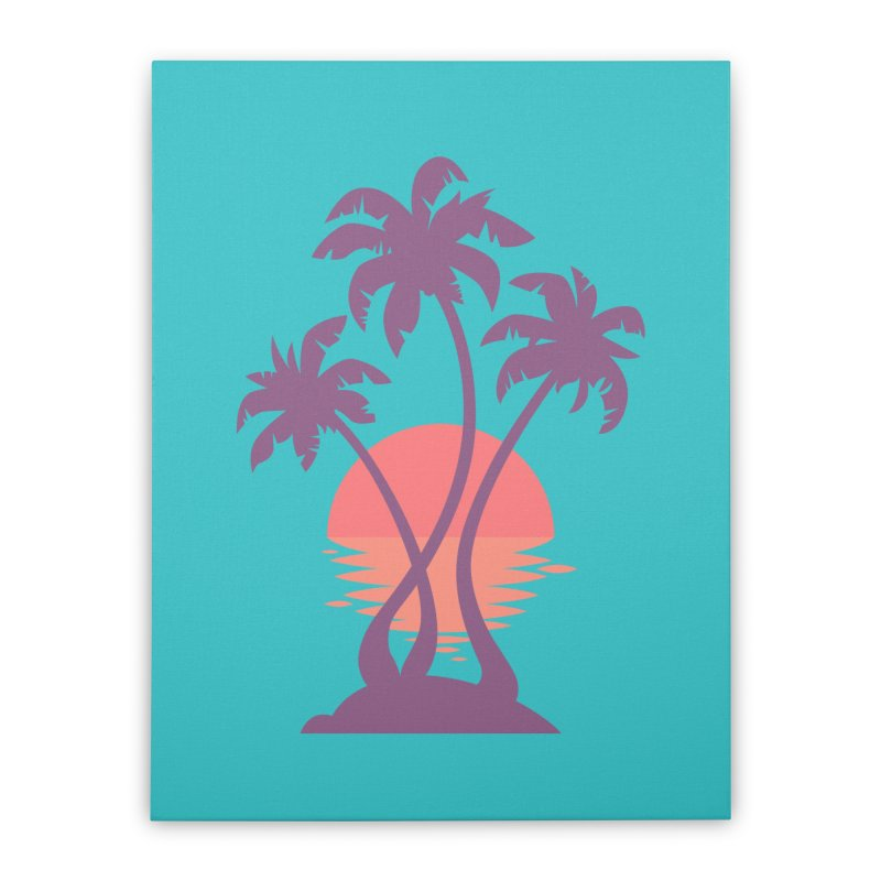 3 Palm Sunset Home Stretched Canvas by Waynem